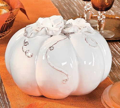 Elegant White Glaze Ceramic Pumpkin Tabletop Decor ()
