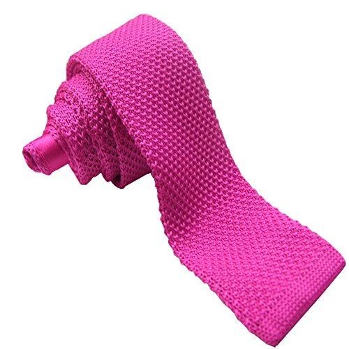 Hot Pink Sendmart Knitted square Plain Slim Ties tip qvwYp6q