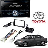 Pioneer FH-S500BT Double DIN Bluetooth In-Dash CD/AM/FM Car Stereo Receiver w/ Pandora Toyota Corolla 2003-2008 Double Din Car Stereo Dash Install Kit W Radio Mounts