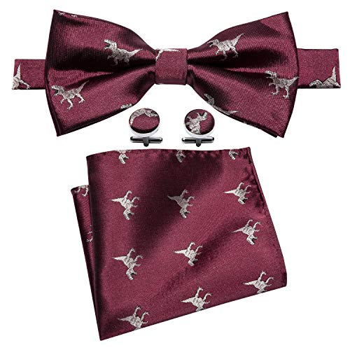 YOHOWA Burgundy Bow Tie and Pocket Square Set for Men Silk Pretied Bow Tie Set