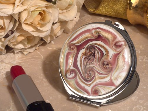FavorOnline Stylish Murano Mauve and Gold Swirl Compact Mirror from