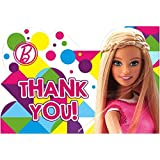 Amscan Barbie Sparkle Birthday Party Postcard Thank You Cards Supply 8 Pack Multi