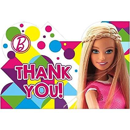 Amazon com: amscan Postcard Thank You Cards | Barbie Sparkle