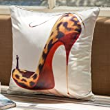 YJBear Faux Silk Sexy Leopard High Heel Shoes Print Standard Size Pillow Case Decorative Pillow Sham Square Cushion Cover with Invisible Zipper for Sofa, Bed and Chair 18' X 18'
