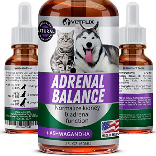 Vetflix Adrenal Support for Dogs and Cats - Cushings Treatment for Pets - Made in USA - Natural Pet Supplement - Dog Kidney & Adrenal Gland Balance & Support - Helps with Symptoms of Cushings ()
