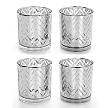 "Hosley's Set of 4 Silver Glass Tealight Holders - 3.15"" High. LARGE SIZE Ideal Gift for Wedding, Party Favor, Spa, home, Bridal, Reiki, Meditation, Votive Candle Garden"