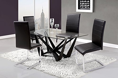 Cheap Merax 4 Pcs Dining Chairs in Black with chrome Metal Leg and PU leather (4pcs)