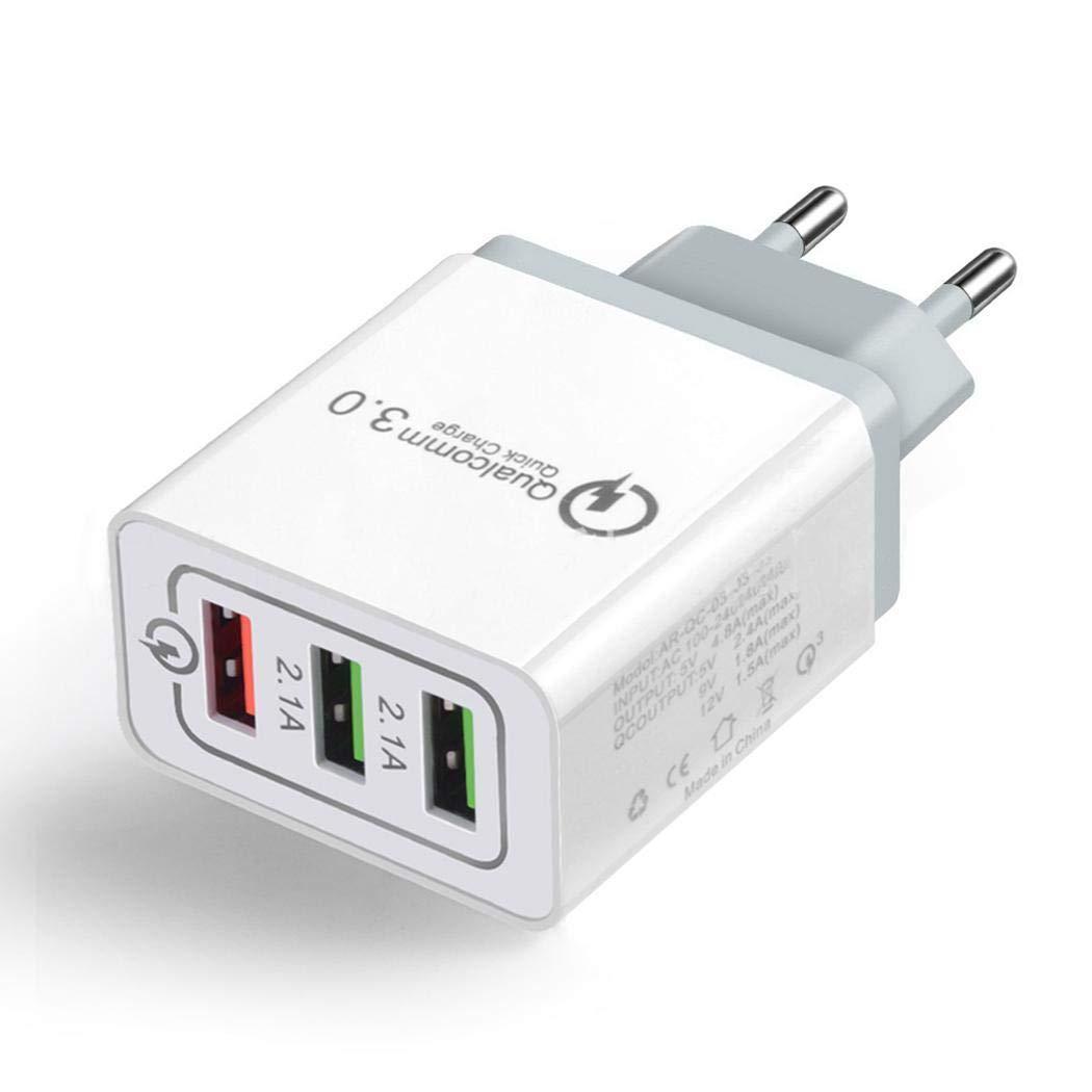 Eroihe 3 Puertos USB Cargador de Pared Casa Viajar Cargador Rápido 3.0 para Telefono Movil