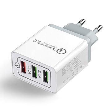 minlop QC 3.0 Cargador USB de Pared con 3 Puertos, Rápido ...