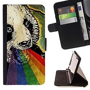 Momo Phone Case / Flip Funda de Cuero Case Cover - Lindo psicodélico del arco iris de la panda;;;;;;;; - Apple Iphone 5C
