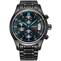 SONGDU Mens Chronograph Quartz Analog Wrist Watch Auto Date with Luxury Stainless Steel Band (Blue - Black)