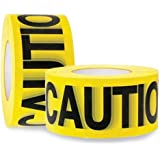 """Caution Tape 2 Pack 3 inch x 1000 feet, Bright Yellow w/Bold Black Text, 3"""" Wide for Maximum Readability Strongest & Thickest"""