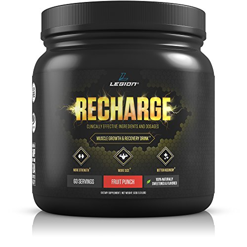 Legion Recharge Post Workout Supplement - All Natural Muscle Builder & Recovery Drink With Creatine Monohydrate. Naturally Sweetened & Flavored, Safe & Healthy. Fruit Punch, 60 Servings (Best Muscle Building Supplements For Beginners)