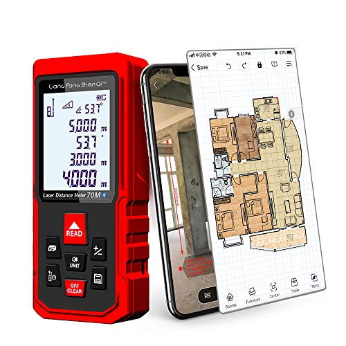 LiangFangShenQi Laser Measure, 230ft/70m, Bluetooth Laser Distance Meter, Backlit Display, Red, KC-B70 Laser Measuring Device with Floor Plan APP for Android & iOS (Standard) (Best Ios Development Tools)