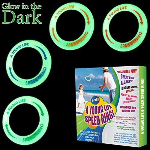 Fly Straight 4 Pack Best Healthy Activities for Your Family Weight 1.15 OZ Only Glow in The Dark Made in USA Kids Flying Rings Flying Disc Floats On The Water Party Outside and Play!