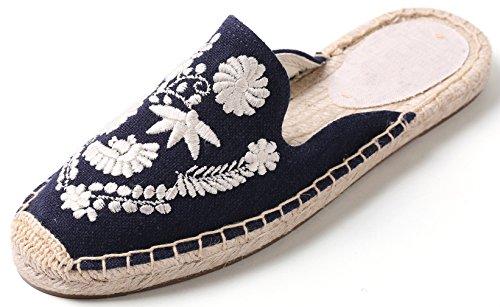 SimpleC Women's LinenInsoleExquisiteFloralEmbroideryUpperMuleShoes,SlideEspadrillesSlippers Navy White Flower