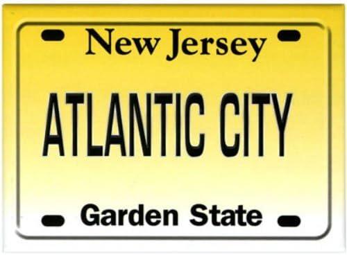 World By Shotglass Atlantic City New Jersey License Plate Fridge Collectors Souvenir Magnet 2.5 X 3.5