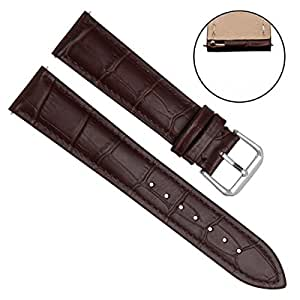 Quick Release Genuine Leather Replacement Watch Band Strap with Stainless Metal Clasp Choice of Color & Width (18mm, Bamboo Leather/Brown Stitch/Brown)
