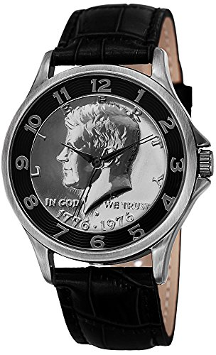 August Steiner Men's CN010BK Silver Quartz Watch with Kennedy Half Dollar Dial and Black Leather Strap