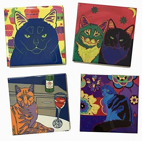Ginger Cat Tile Art Coaster Cat Home Decor Mini Artby Angela Bond Art