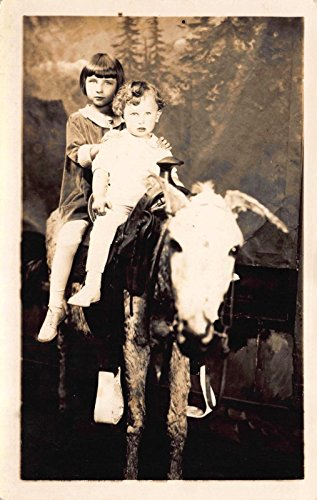 Real Photo Postcard Little Boy Girl on Photo Studio Pony Horse (Horse Pony Photos)