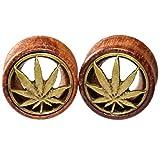 00g wooden plugs - 10mm 00g Brass Pot Leaf Marijuana Organic Wood Flesh Tunnels Double Flared Ear Stretcher Saddle Plugs Gauge