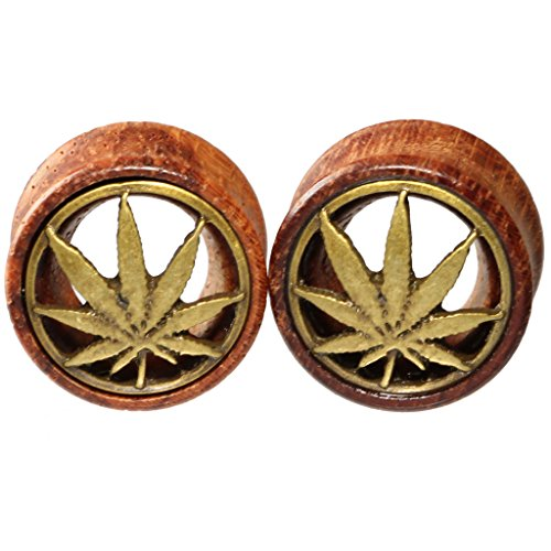 10mm 00g Brass Pot Leaf Marijuana Organic Wood Flesh Tunnels Double Flared Ear Stretcher Saddle Plugs - Pot Leaf Plug