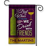 Wine Lover Personalized Best Friends and Wine Double-Sided Garden/House Flag