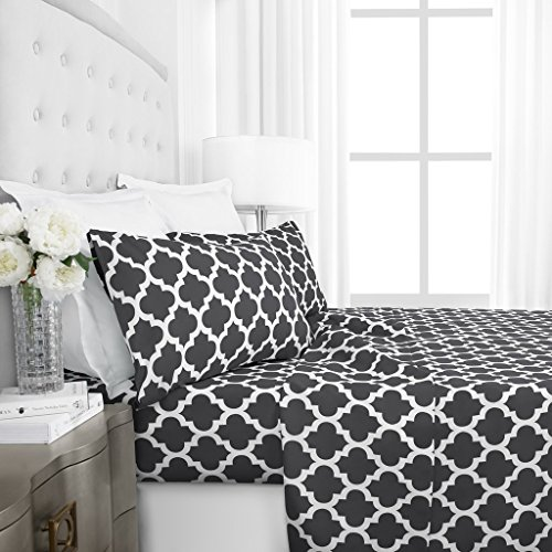 Italian Luxury 1800 Series Hotel Collection Quatrefoil Pattern Bed Sheet Set - Deep Pockets, Wrinkle and Fade Resistant, Hypoallergenic Printed Sheet and Pillow Case Set - California King - Gray