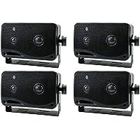 4) New PYRAMID 2022SX 3.25 400w 3-Way Car Audio Mini Box Speakers System Inside
