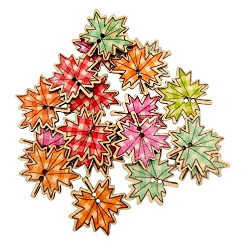 50Pcs Maple Leaves Wooden Buttons DIY Sewing Needlework Scrapbooking Craft - Random Color qsbai - Maple Leaf Button