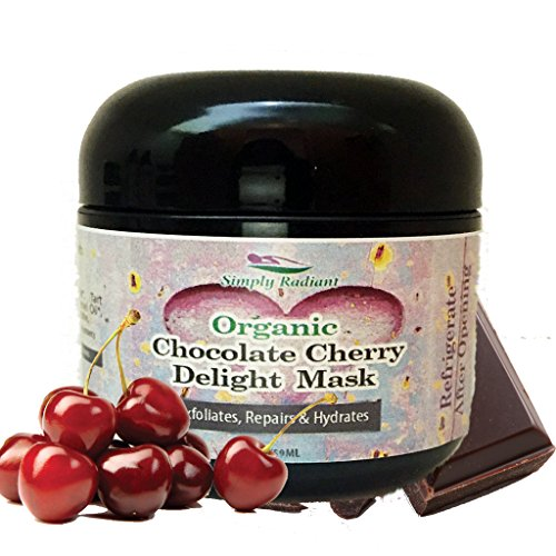 Organic Chocolate Cherry Facial Mask 2 oz - For Deep Cleansing & Exfoliation - Brightening Face Mask Evens Tone and Provides Deep Moisturization For Firm, Radiant Skin - Simply Radiant
