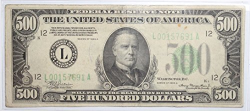 1934 A Series $500 Federal Reserve Note w/ Light Green Seal Fine