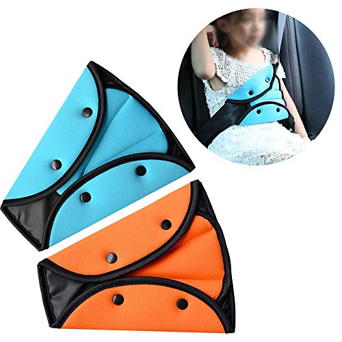 (VTurboWay Seat Belt Adjuster for Kids, 2 Pack Seat Belt Positioner Child Seatbelt Adjuster Seat Belts Protection and Safety for Kids (Orange & Blue))