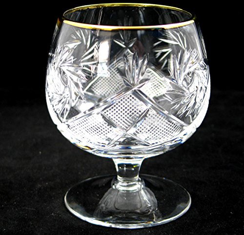 SET of 6 Russian Cut Crystal Cognac Scotch Whiskey Stemmed Snifter Goblet Glass 24K Gold Rimmed 10 Oz. Vodka Liquor Old-fashioned Glassware Hand Made by Neman Crystal (Image #3)