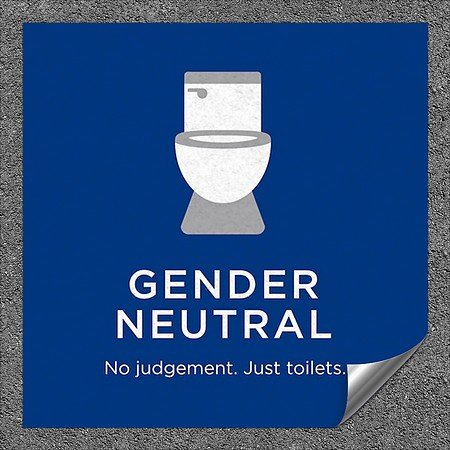 CGSignLab |''Gender Neutral Toilet Sign in Blue'' Heavy-Duty Industrial Self-Adhesive Aluminum Wall Decal (5-Pack) | 24''x24''
