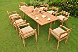 *Clearance* 9 Pc Grade-A Teak Wood Dining Set – 94″ Rectangle Table and 8 Montana Stacking Arm Chairs #WFDSMTb For Sale