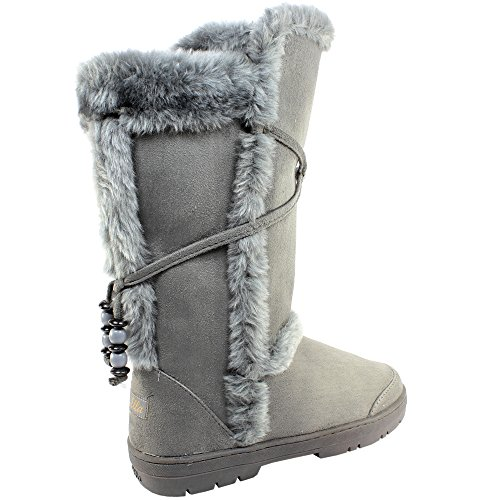 Womens Winter Lined Faux Boots Thick Grey Fur Snow Sole rXqrfpUw