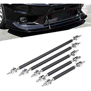 2 X Silver Stainless Steel Adjustable Car Front Bumper Lip Splitter Rod Tie Bars