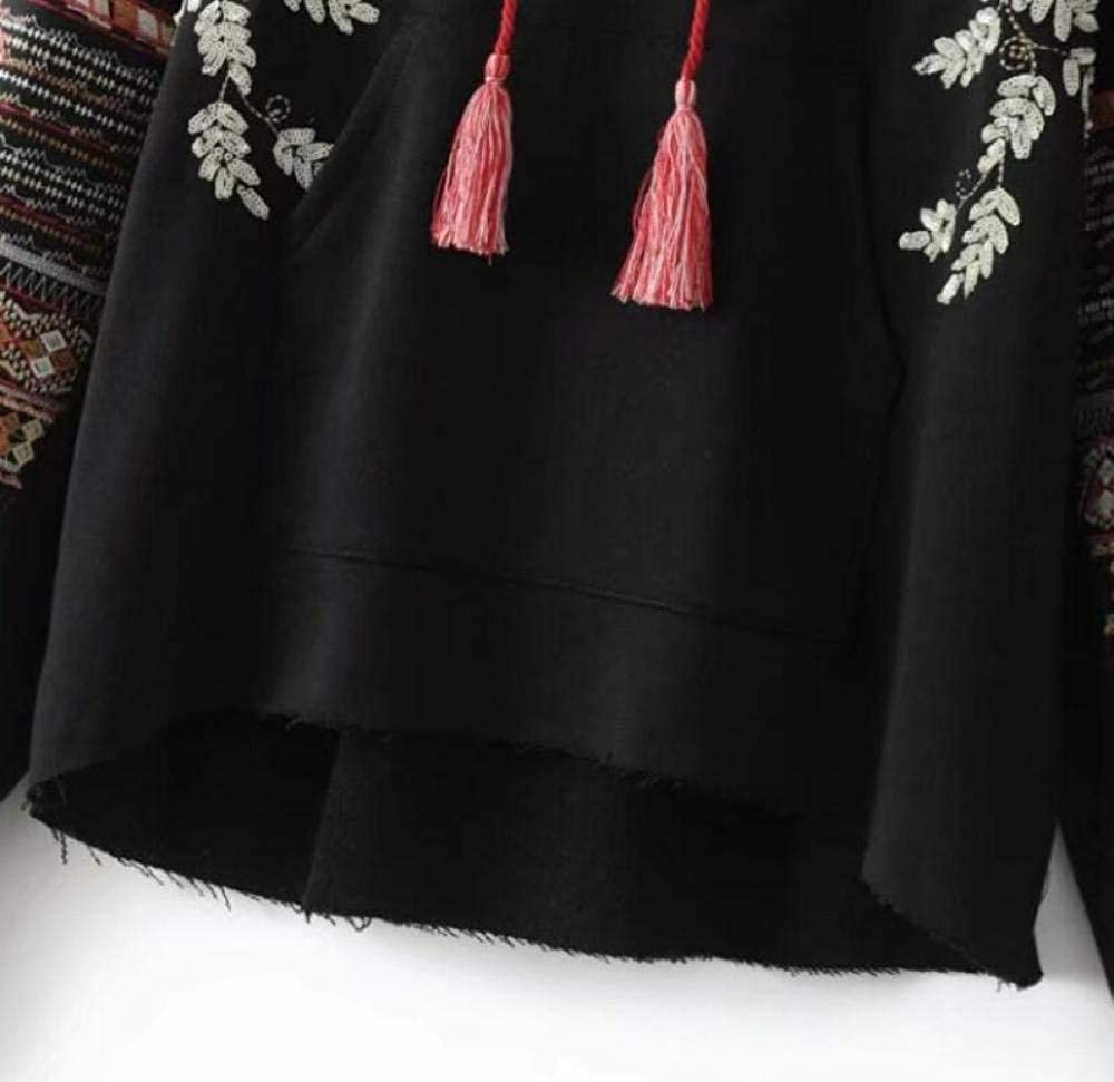 XUANTSHIRT Kapuzenpullover Frauenpullover Im Nationalen Stil Retro-Stickerei Druck Persönlichkeit Wilde Langarm Pullover Paar Tops Black