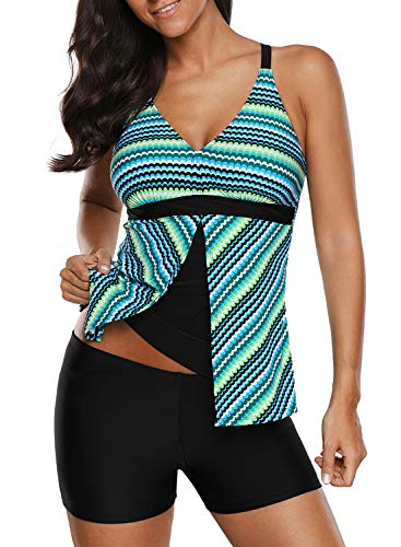 GOSOPIN Women Summer Colorblock Tankini Set Flyaway Two Piece Swimsuit Medium Striped Green