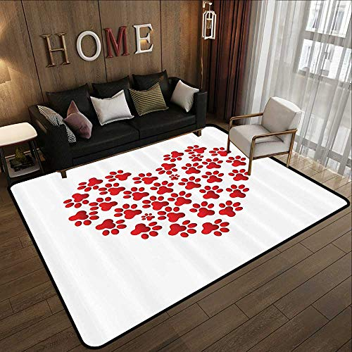 Contemporary Synthetic Rug,Cat Lover Decor Collection,Heart Shaped with Cat Dog Paw Prints Fashion Modern Romantic Fun Design,White Red 59