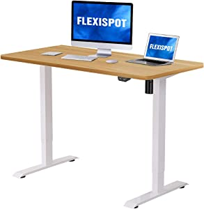 Flexispot Electric Height Adjustable Desk, 48 x 30 Inches, Sit Stand Desk Base Home Office Table Stand up Desk Standing Desk (White Frame + 48 in Maple Top)