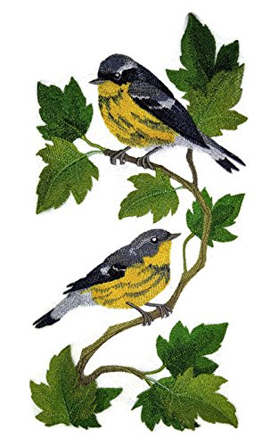 Nature weaved in threads, Amazing Birds Kingdom [Magnolia Warbler Panel] [Custom and Unique] Embroidered Iron on/Sew patch [11.74