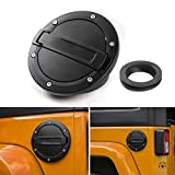 Gas Tank Cap Cover Fuel Tank Cover for 4-Door 2-Door for 2007-2017 Jeep Wrangler JK & Unlimited -(Black New Style)