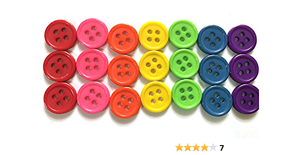 9 buttons rainbow colours 22 mm