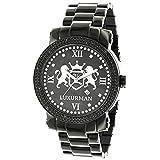 Designer Large Watches: Luxurman Phatom Black Diamond Watch for Men 0.12ct