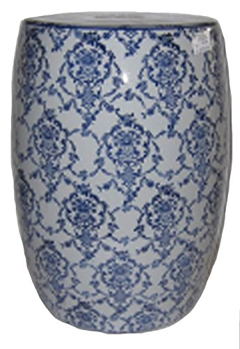 Sagebrook Home Sagebrook Home-Ceramic Garden Stool, Blue/White, 13