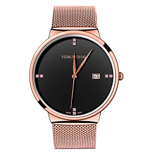 Mens Dress Watches Thin Case Analog Quartz Stainless Steel Waterproof Classic Casual Milanese Mesh Band Wristwatch Slim Dial Luxury Unisex Watch Gold Black
