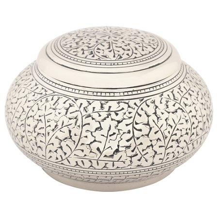 Silverlight Urns Leaves of Silver Round Urn, Small Brass Urn, 4 Inches High, Keepsake Urn for Ashes